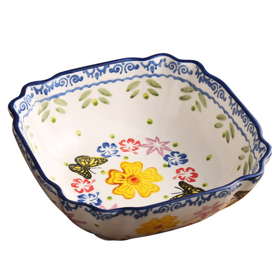 Glaze color square lace ceramic household continental bowl soup bowl big pull Korean bubble big cute salad bowl