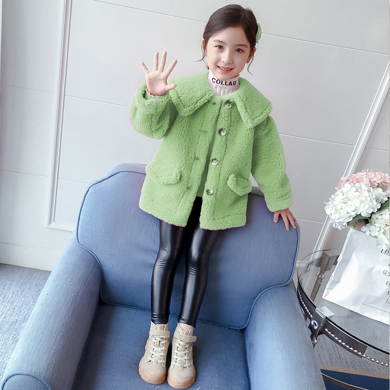 Girls' air coat Spring and Autumn 2020 new children's spring dress girl top thick lamb velvet children's wool sweater