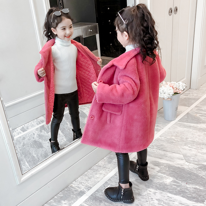 Girls' coat autumn/winter 2019 new foreign-gas big children's clothing winter clothing clip cotton thick children plus velvet velvet coat.
