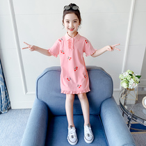 Girls dress summer dress 2021 new popular children's clothing big children's long T-shirt skirt summer children polo skirt