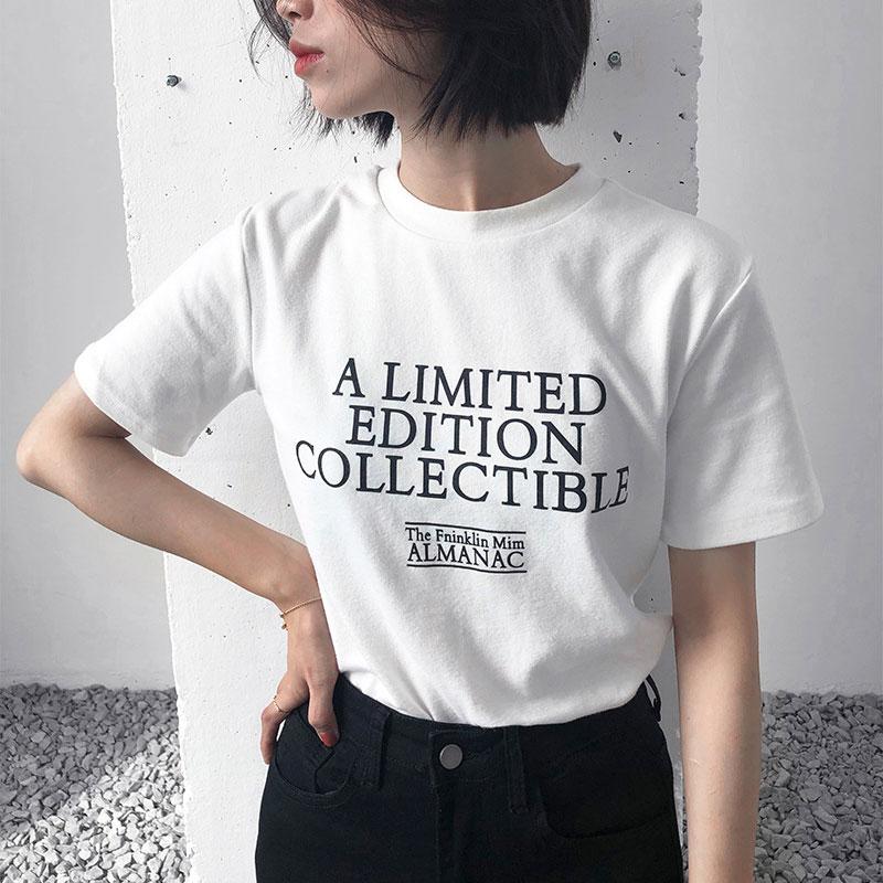 白色字母印花磨毛短袖T恤女韩版宽松学生休闲百搭圆领套头上衣潮