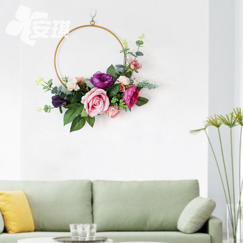 Nordic style wrought iron wall decoration garland Creative home room bedroom restaurant store wall hanging flower simulation flower
