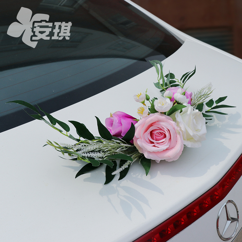Wedding car tail decoration La Flower Sen department wedding deputy team decoration Wedding room decoration Simulation bouquet non-flowers