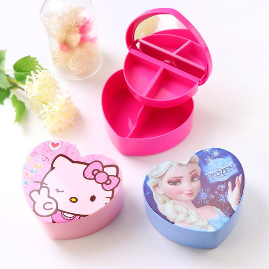 Children's dressing table, plastic cartoon jewelry box, baby hair accessories, princess storage box, cosmetic jewelry, hairpin, headdress