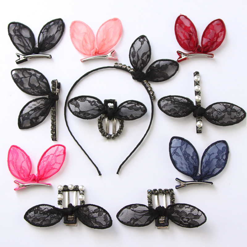 Children's lace rabbit ears hairpin hairpin hairpin Princess ladies and children cute Korean head jewelry hair rope rope