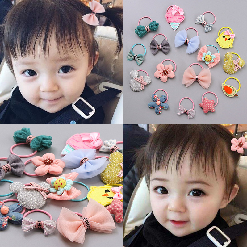 Fashion Kids Baby Female Solid Color Bow Hair Rope Rubber Band Girl Apron Rubber Band Tiara Hair Accessories Hair Ring Apparel Accessories