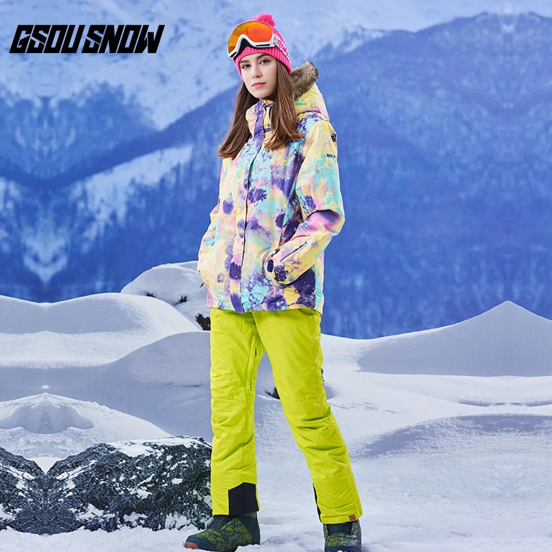 Новый Gsou snow моно,парный доска катание на лыжах костюм меховым воротником анти тепло штиль вода катание на лыжах женская одежда