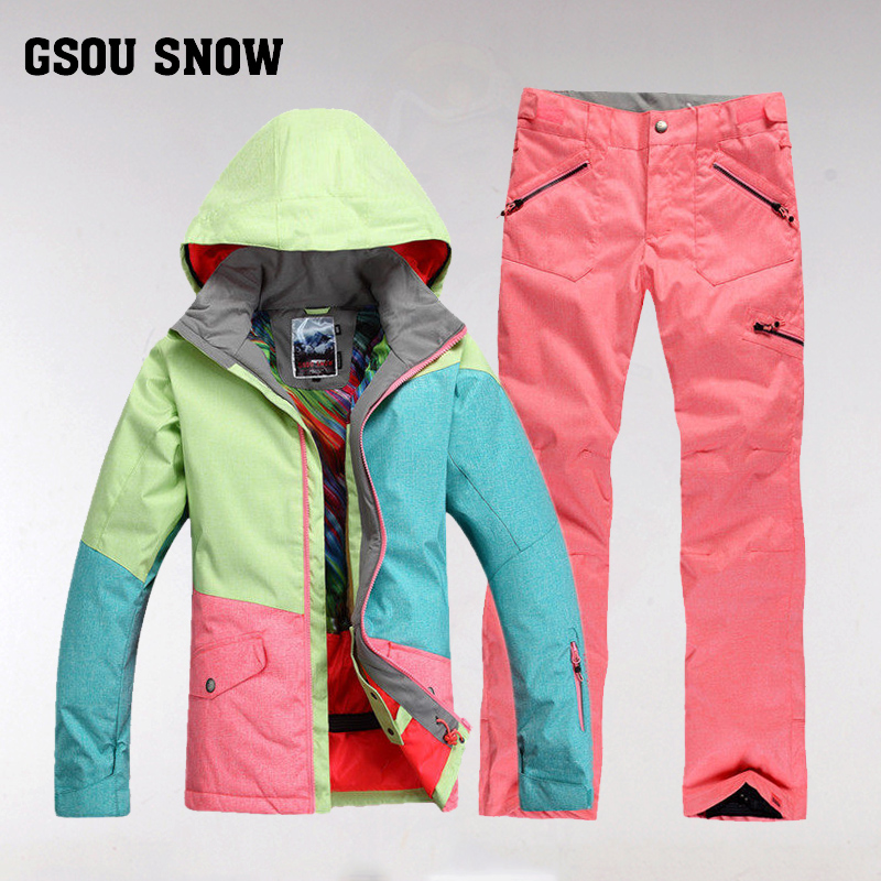 Gsousnow катание на лыжах женская одежда установите шпон двойная плита мисс 2017 зимний уплотнённый взрослых женщин против расходов от холодного.