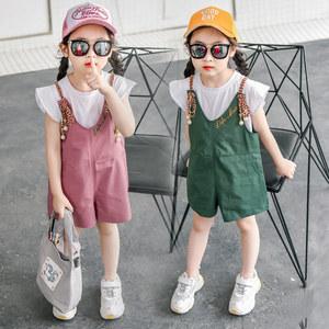 童装女童休闲背带裤套装2019新款韩版宝宝休闲中裤儿童T恤两件套