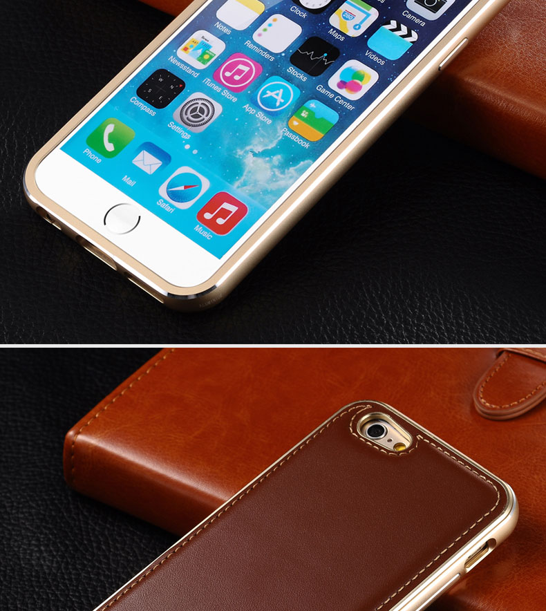iMatch Luxury Aluminum Metal Bumper Premium Genuine Leather Back Cover Case for Apple iPhone 6S/6 & iPhone 6S Plus/6 Plus