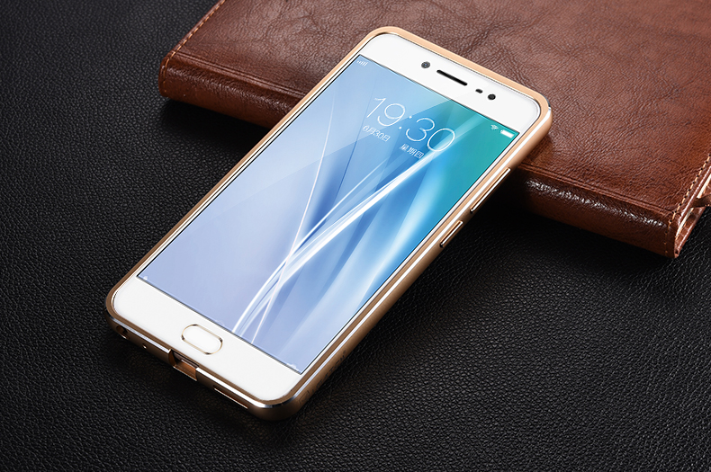 iMatch Luxury Aluminum Metal Bumper Premium Genuine Leather Back Cover Case for vivo X7 Plus & vivo X7