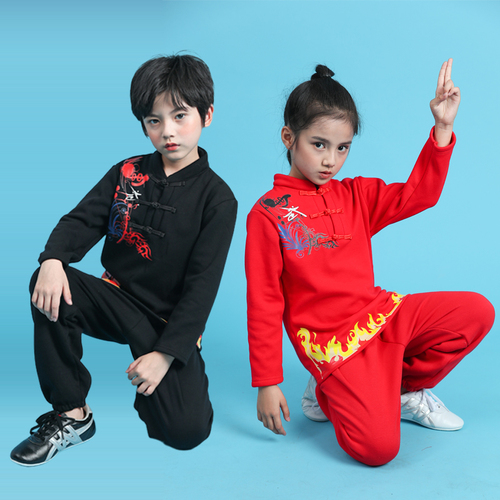 Boys Martial arts Kungfu & Tai-Chi Uniforms for Girls Children martial arts clothing Kung Fu Long Sleeve boys and girls kindergarten training performance students martial arts training clothes