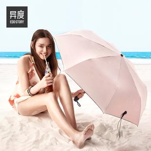 异度 太阳伞女时尚折叠防晒遮阳防紫外线晴雨两用黑胶小黑伞雨伞
