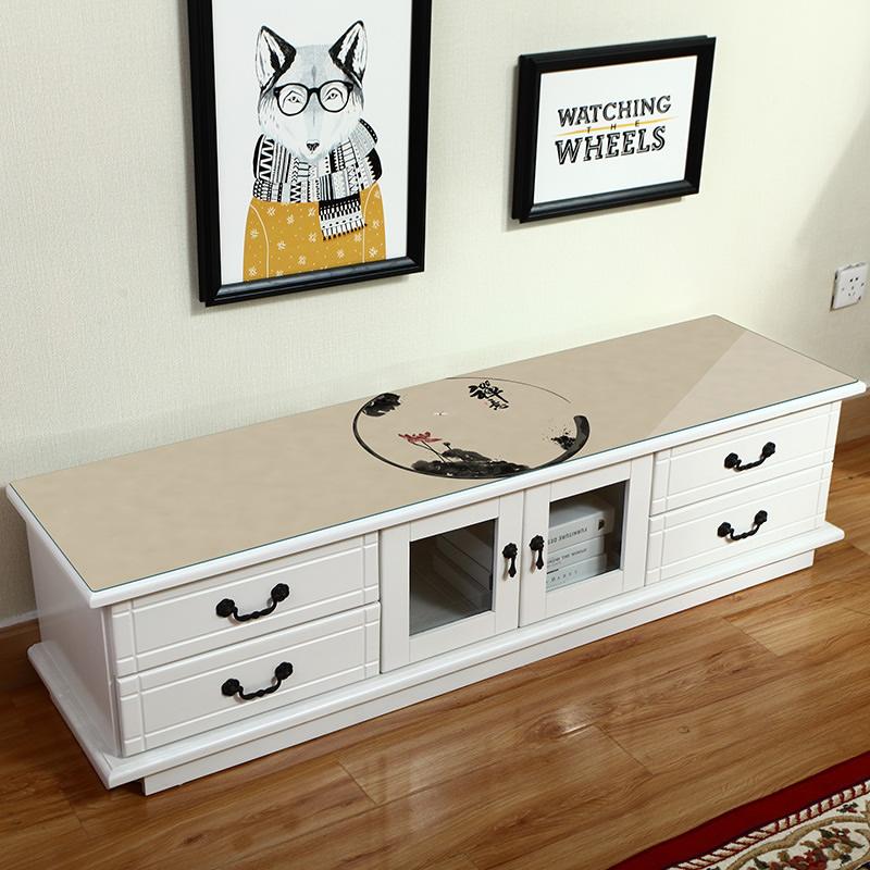 中国风电视柜桌布中式复古个性创意防水防烫灰色轻奢家用pvc桌垫