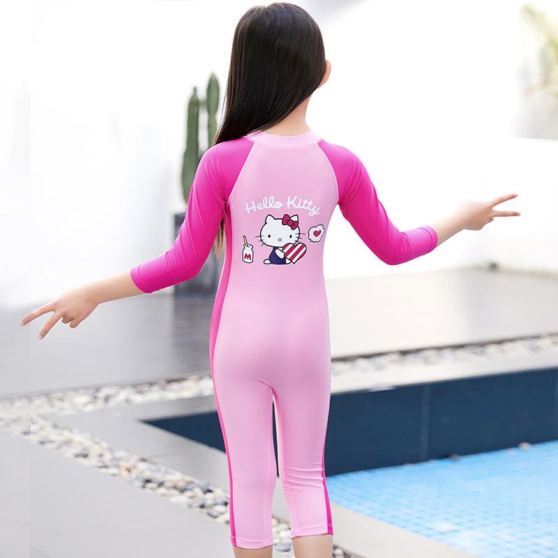 hellokitty女童公主连体泳衣