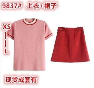 小个子两件套!撞色针织top+矮子乐小裙裙