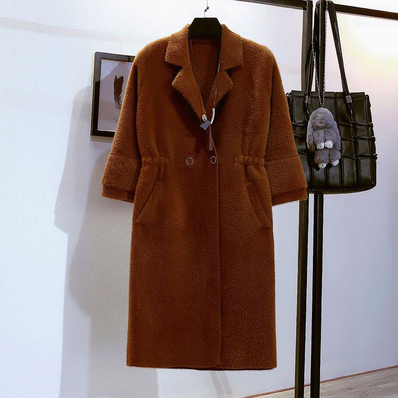 Giải phóng mặt bằng chống mùa khuyến mãi áo khoác nữ phần dài Hàn Quốc màu caramel eo giả nhung áo len mùa thu váy nữ