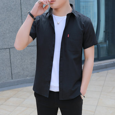 Summer Oxford spinning short-sleeved shirt men's Korean style slim trend handsome half-sleeved shirt men's casual inch shirt loose