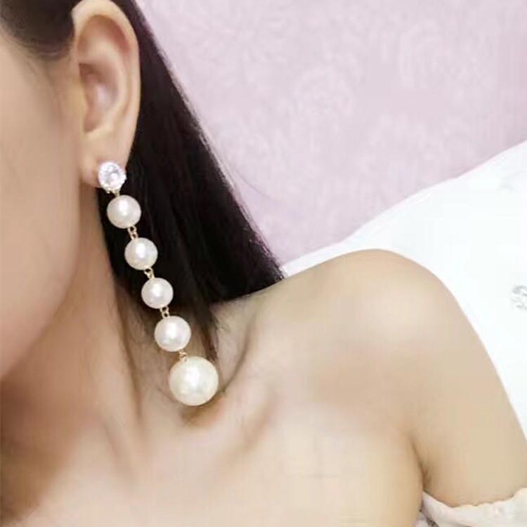 韩国新娘款黑白水钻夸张珍珠超仙气质长款大耳环耳饰晚礼服配饰女