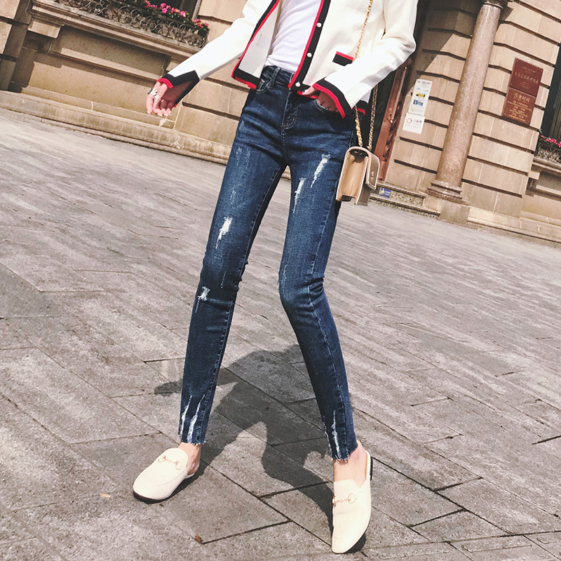 Hole jeans female tight feet pants spring and autumn 2019 new Spring Spring women's pants net red was thin spring