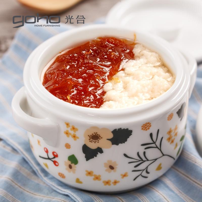 陶瓷隔水炖盅带盖双盖双耳炖燕窝盅蒸蛋盅炖罐家用小汤盅炖盅碗