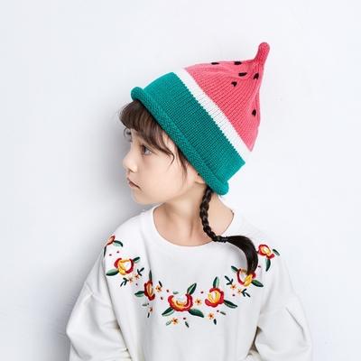 韩版儿童可爱西瓜毛线帽针织保暖尖尖帽