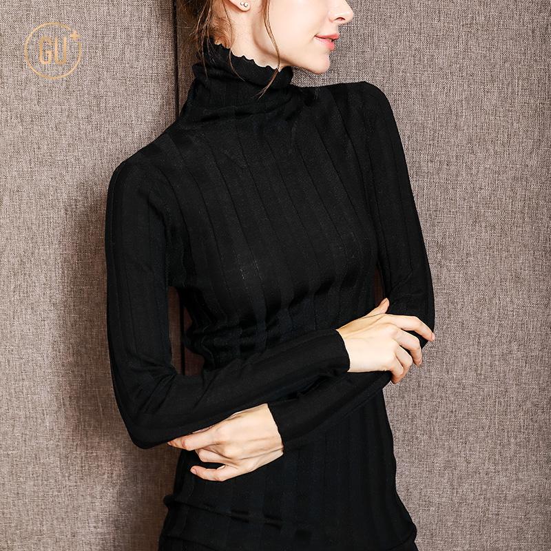 羊毛打底衫女长袖秋冬套头修身高领薄款毛衣百搭秋装冬季针织衫