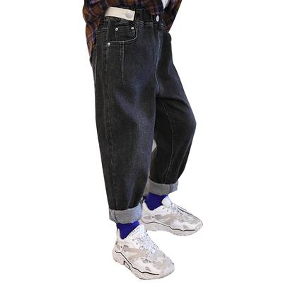 2019新款男童牛仔裤洋气儿童裤子中大童长裤秋装韩版男孩潮裤黑色