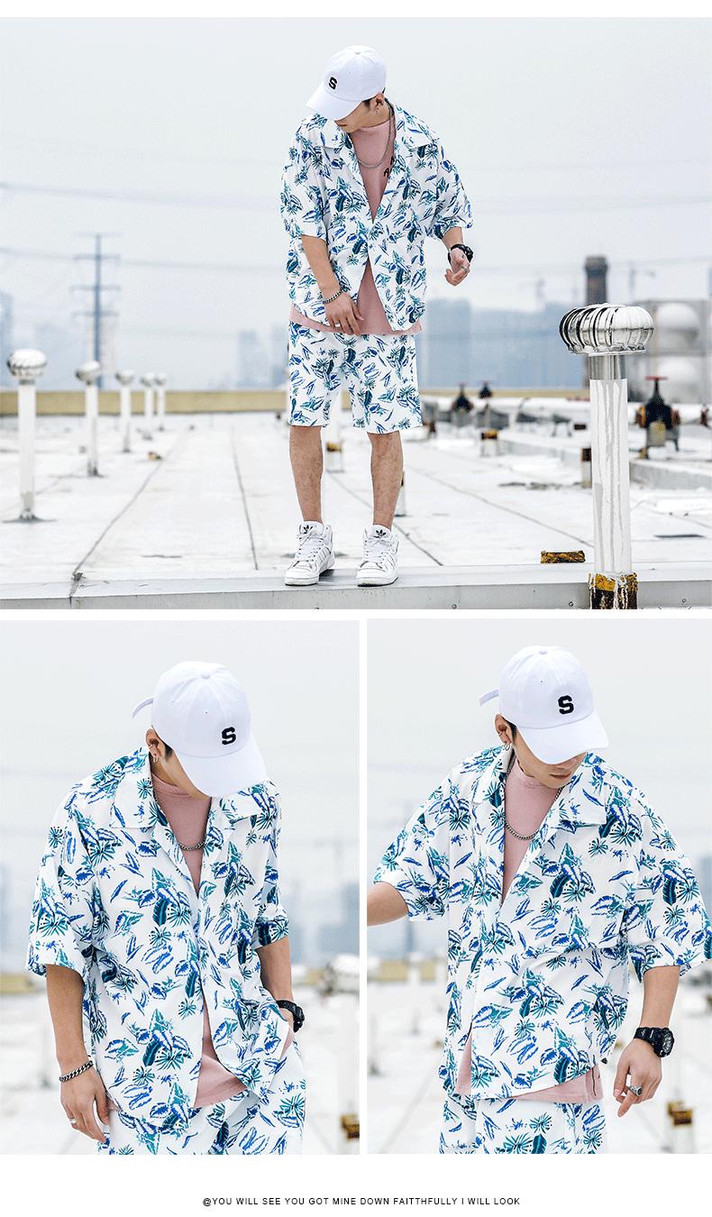 夏季套装短袖衬衫宽鬆痞帅男装一套搭配帅气夏装社会小伙恤冰丝详细照片