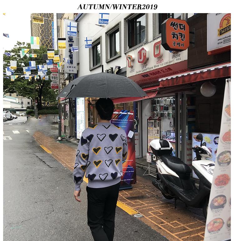 Ma Kết nam thu đông và áo len tình yêu nam lỏng lẻo Hàn Quốc chic lười biếng áo len dài tay áo thủy triều - Áo len