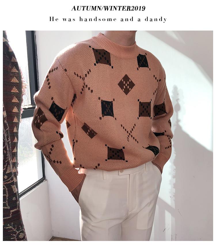 Capricorn nam mùa đông lười phong cách Hàn Quốc lỏng lẻo áo len dài tay xu hướng kim cương jacquard áo len nam - Áo len