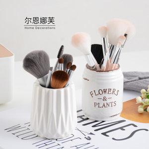 条纹几何立体陶瓷化妆刷筒化妆品收纳盒化妆刷桶笔筒桶桌面收纳筒