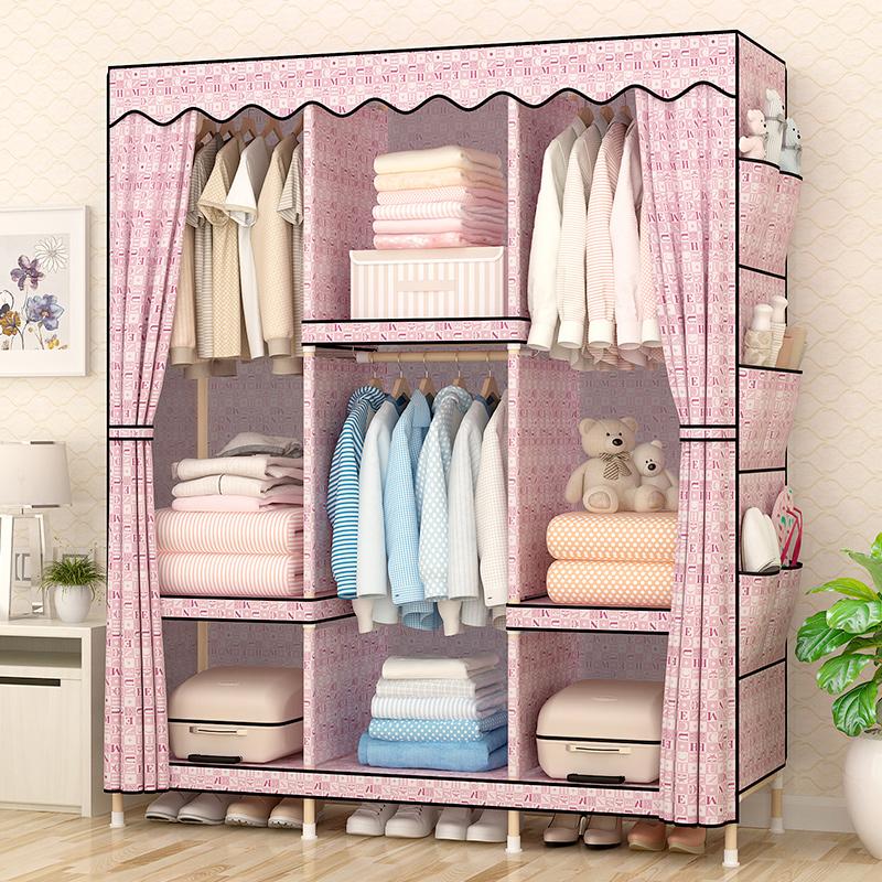 Легко ткань гардероб ткань дерево сочетание сборка большой размер двойная люди плюс твердый корейский комната с несколькими кроватями экономического типа гардероб один