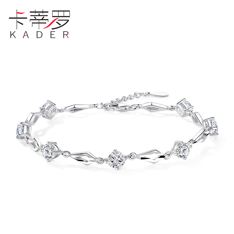 卡蒂罗纯银手链女韩版简约个性女士首饰520礼物女友镶施华洛世奇