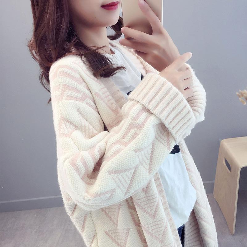很仙的毛衣外套女中长款很仙的网红加厚宽松韩版2019新款针织开衫