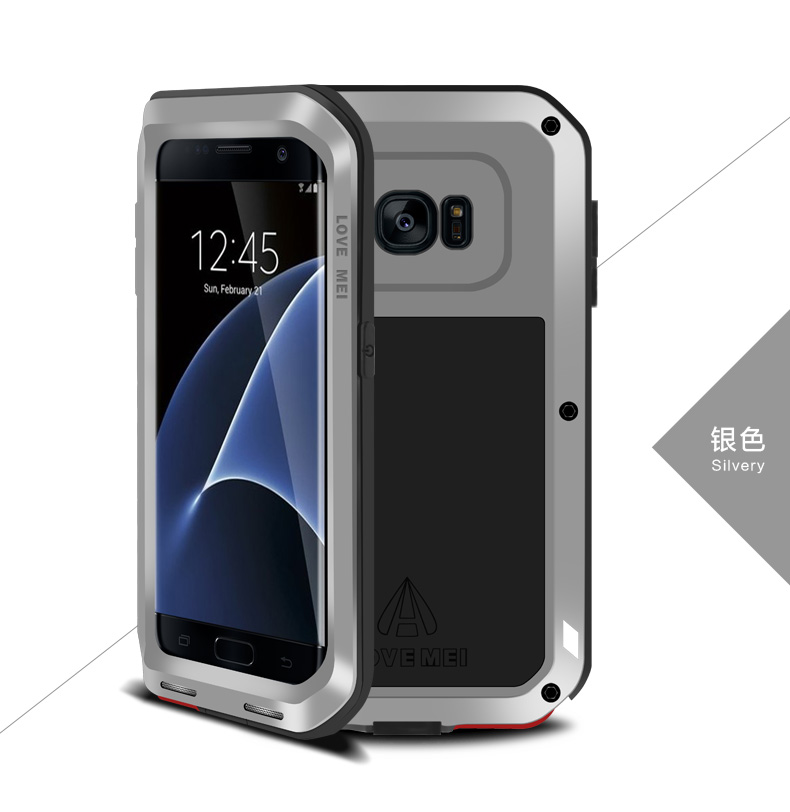 LOVE MEI Powerful Water Resistant Shockproof Dust/Dirt/Snow Proof Aluminum Metal Outdoor Heavy Duty Case Cover for Samsung Galaxy S7 edge