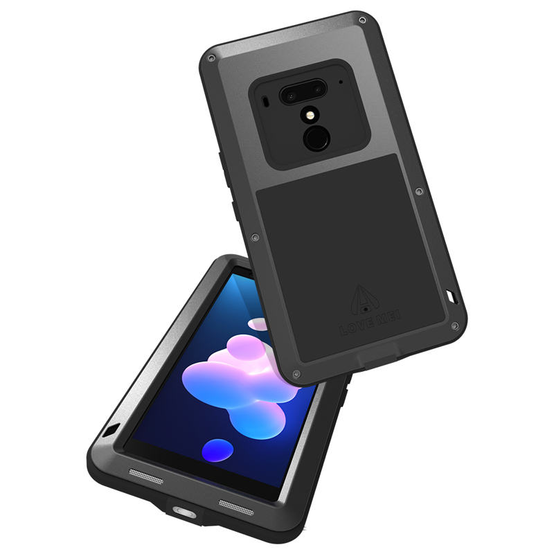 LOVE MEI Powerful Water Resistant Shockproof Dust/Dirt/Snow Proof Aluminum Metal Outdoor Gorilla Glass Heavy Duty Case Cover for HTC U12+