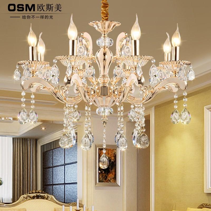 欧式餐厅大气灯吊灯客厅现代简欧简约奢华灯具水晶灯美式蜡烛卧室