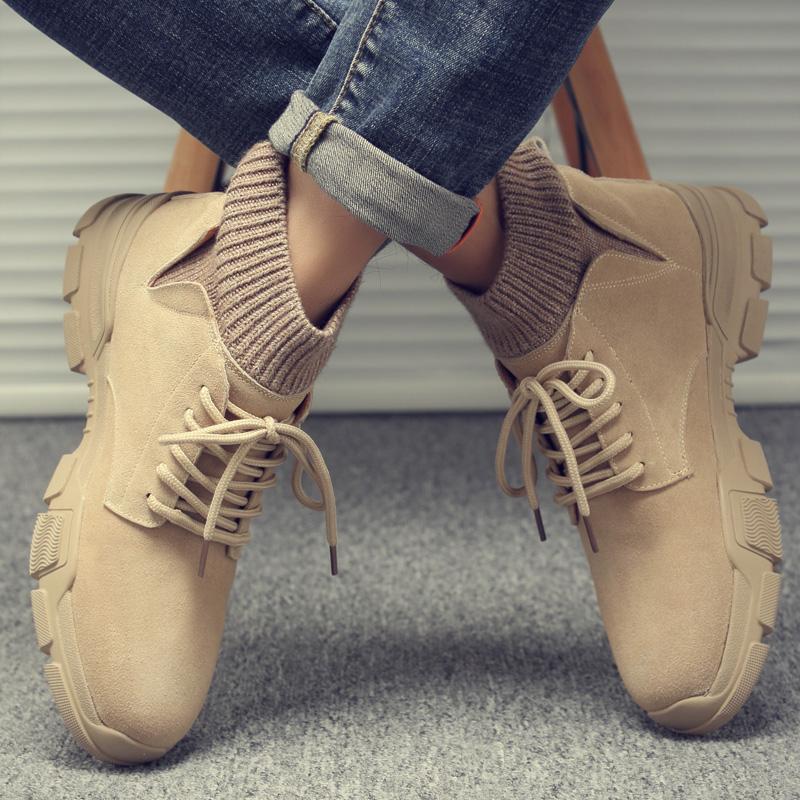 马丁靴男秋季透气潮鞋中帮百搭工装鞋男士户外英伦复古袜子沙漠鞋
