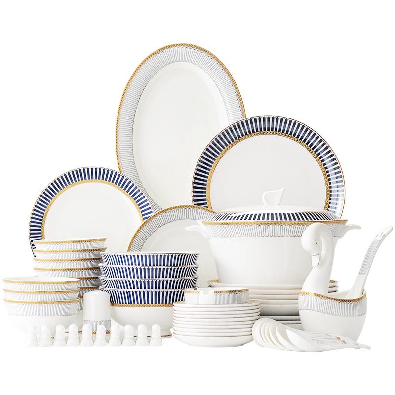 唐山骨瓷餐具套装碗盘西式整套餐具10人家用60头碗碟套装乔迁礼盒