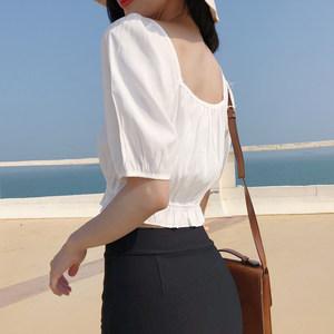 网红同款夏装衣服木耳边高腰娃娃衫短袖白色短款露脐女装上衣<span class=H>衬衫</span>