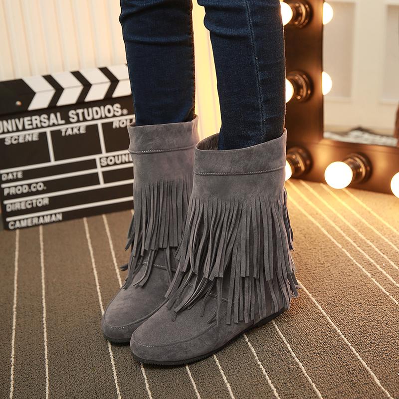 韩版马丁靴女英伦风短靴冬季加绒中筒靴子内增高女鞋平底坡跟厚底