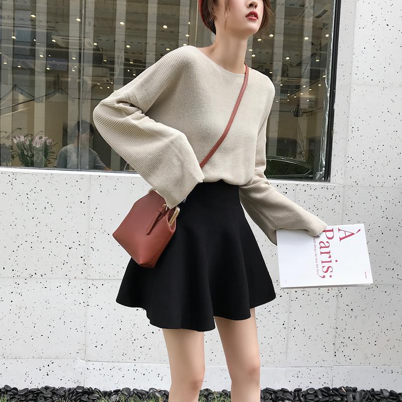 短裙秋冬女半身裙冬季打底针织蓬蓬百褶裙高腰a字伞裙裙子毛线裙