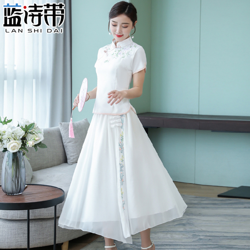 Cheongsam two-piece suit summer women's dress top slimming 2020 spring fashion Chinese style Tang suit Hanfu dress long skirt