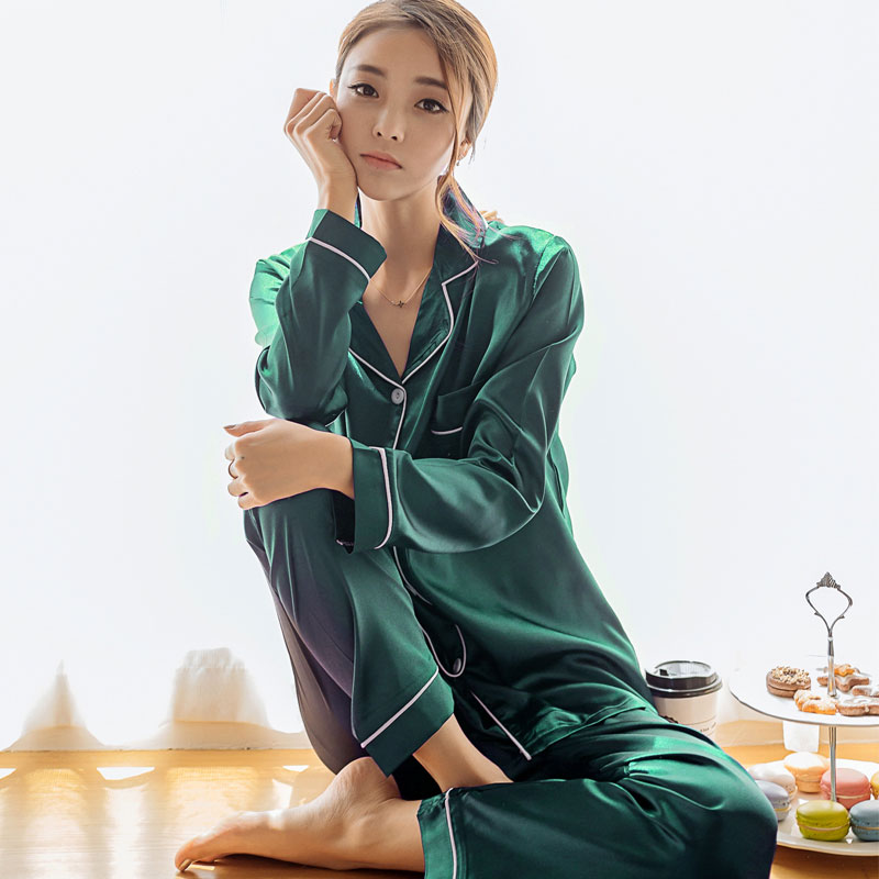 Plus fertilizer XL pajamas women spring and autumn long-sleeved silk fat mm200 kg summer ice silk loose home service suit