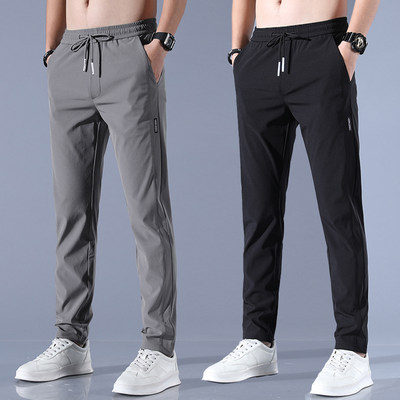 Ice silk pants men's loose breathable straight casual pants summer ultra-thin model quick-drying trousers elastic men's sweeping pants