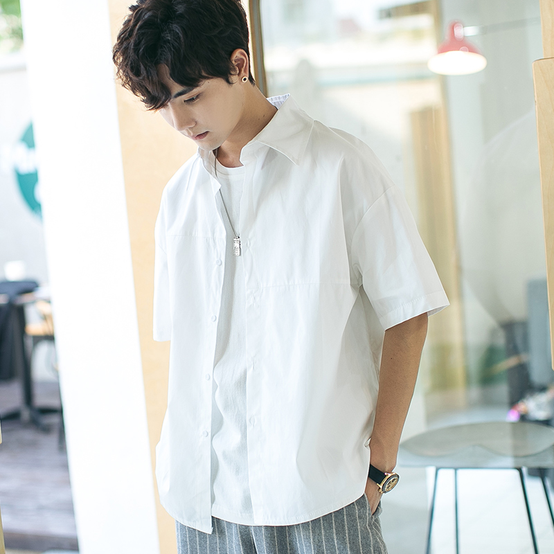 Summer Korean version of short-sleeved loose white shirt ins small fresh trend simple coat five-point sleeve shirt student shirt