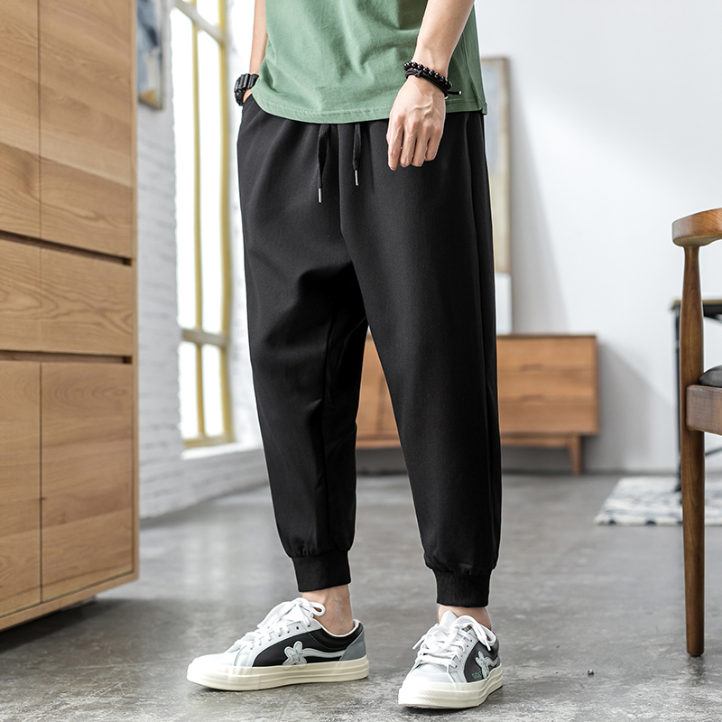 Summer thin men's casual pants Korean trend 9 points pants Ice Silk harem pants loose feet nine points pants tide