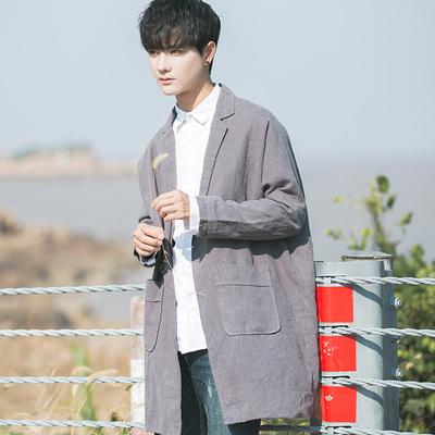 2018 mùa xuân và mùa thu mới của Hàn Quốc phiên bản của tự trồng áo gió áo giản dị trong phần dài của nam giới xu hướng mỏng đẹp trai sinh viên