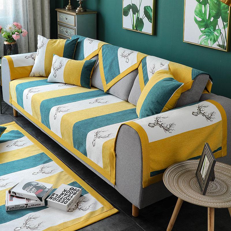 Chenille sofa đệm bốn mùa phổ biến chống trượt hiện đại tối giản nhà đệm da Bắc Âu vải sofa khăn - Ghế đệm / đệm Sofa